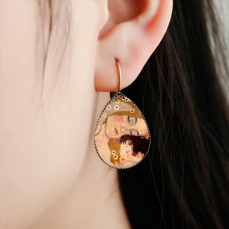 SUTEYI Classic Van Gogh Painting Tear Drop Earrings Jewelry Mothers Love Baby Picture Glass Dome Water Drop Women Earrings