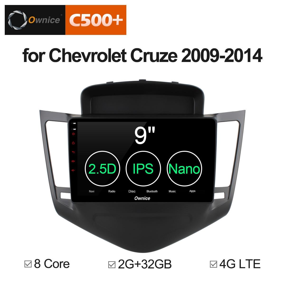 Ownice C500 + G10 2 din tela de toque Android 8.1 carro dvd gps para Chevrolet Cruze 2009-2014 oito núcleo 2g RAM 32g Apoio ROM 4g