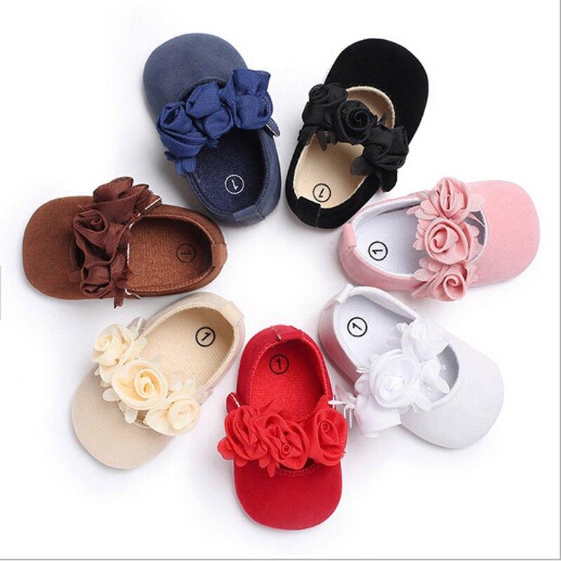 2018 New Cute Princess Baby Girls Soft Crib Shoes Moccasin Prewalker Sole Floral Shoes Bebek Ayakkabi 0-18M