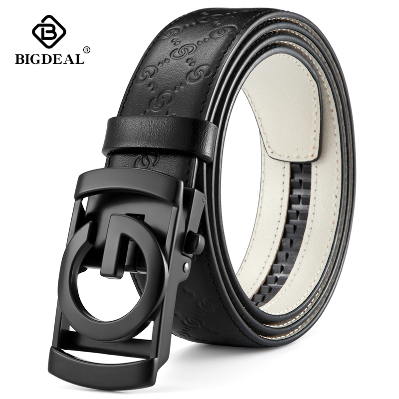 BIGDEAL Men   Belts   Cow Genuine Leather   Belt   For Men Metal Automatic Buckle Male Strap High Quality Cowhide Male Newest Waistband