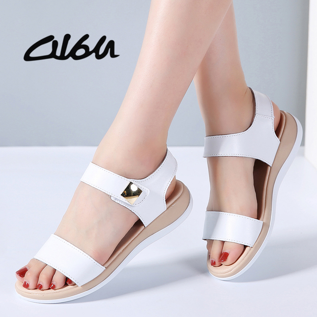 c790bff09df8 O16U Flat Heels Sandals Shoes Women Genuine Leather T Strap basic Mam  Sandals White beige Casual
