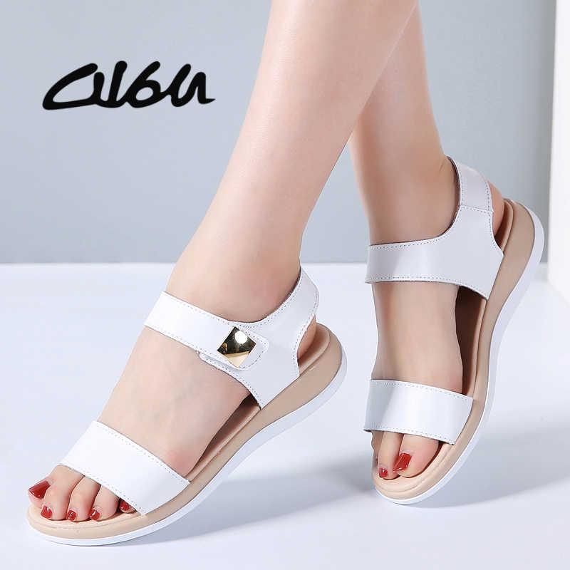 41f7864ab90e86 O16U плоские босоножки на высоком каблуке обувь Для женщин натуральная кожа  T ремень одноцветное Mam сандалии