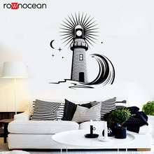 Lighthouse Wave Sea Ocean Style Moon Wall Sticker Nautical Home Decor Living Room Bathroom Decals Removable Mural Wallpaper 3152
