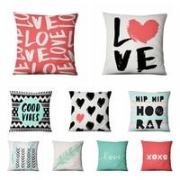 イン新鮮な愛薄型リネン枕手紙クッション装飾枕家の装飾ソファスロー枕 Almofadas Decorativas パラ
