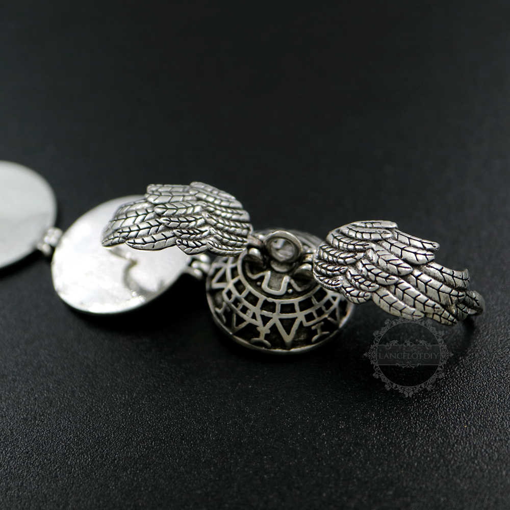 25mm vintage style antiqued silver bronze angel wing four fold round ball photo locket pendant charm DIY supplies 1113031
