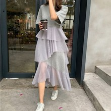 2019 Women Loose Short Sleeve Layered T-shirt Dress Solid O-Neck Patchwork Mesh Long Ruffles Dress Casual Beach T shirt Dress layered sleeve square neck dress