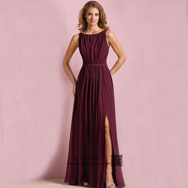 Cheap Purple Bridesmaid Dress Chiffon Tank Split Front Long Elegant Wedding  Guest Dresses Imported Navy Blue