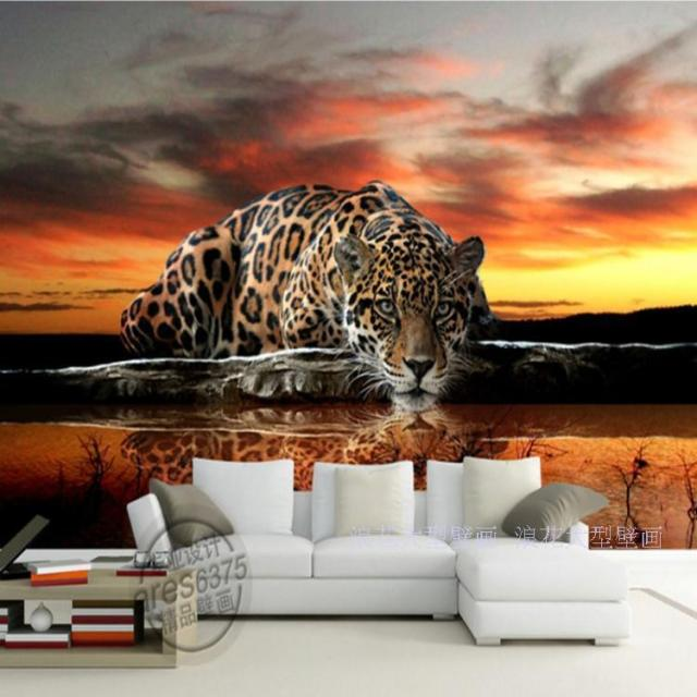 Custom Photo Wallpaper 3D Stereoscopic Mural Wallpaper Animal Leopard Wall Murals Wallpaper