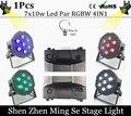 7pcs 10w lamp beads 7x10W led Par lights RGBW 4in1 flat par led dmx512 disco lights professional stage dj equipment