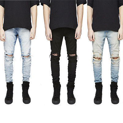 Three Colors Men's Ripped Skinny Biker Jeans Destroyed Frayed Slim Fit Button Denim Pants Size 30-36 fashion men s ripped skinny biker jeans destroyed frayed slim fit denim pants
