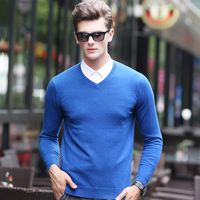 2016 New Style Fashion 100% Wool Knit V Neck Men Sweater Solid Color Pullover Sweater