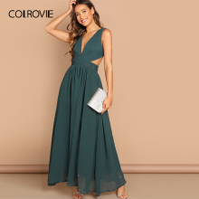 COLROVIE Green V-Neck Crisscross Waist Prom Wrap Party Maxi Dress Women Sleeveless