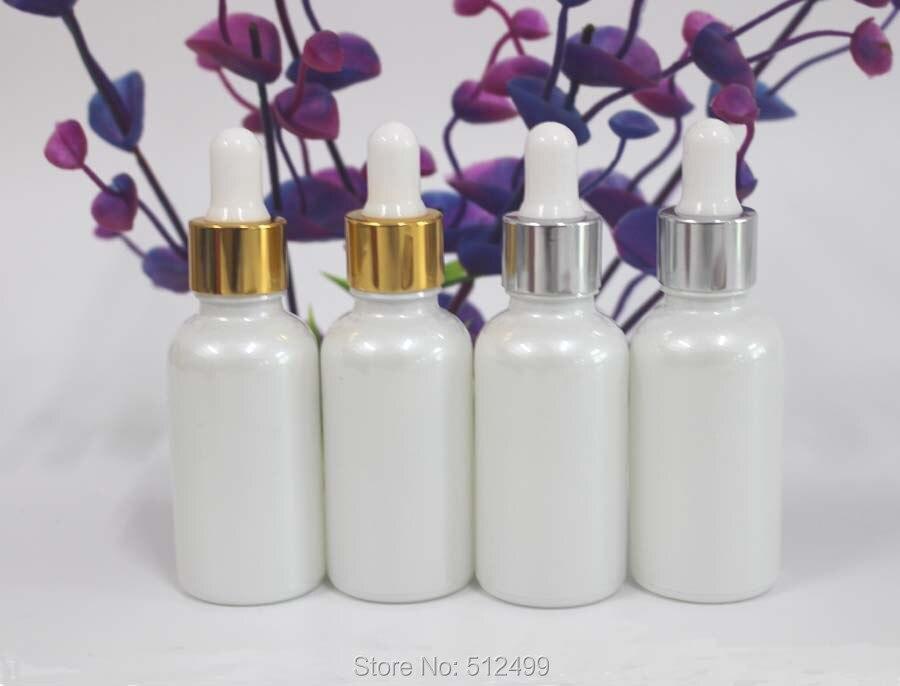 5/20/30 pièces 18/410 30 ml bouteilles dhuile essentielle en verre blanc perle couleurs de pulvérisation compte-gouttes bouteille rechargeable bouchon or/argent