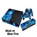 Azul do crânio do fogo full body protetor adesivo de pele decalque para a microsoft para a consola xbox one acessórios duráveis