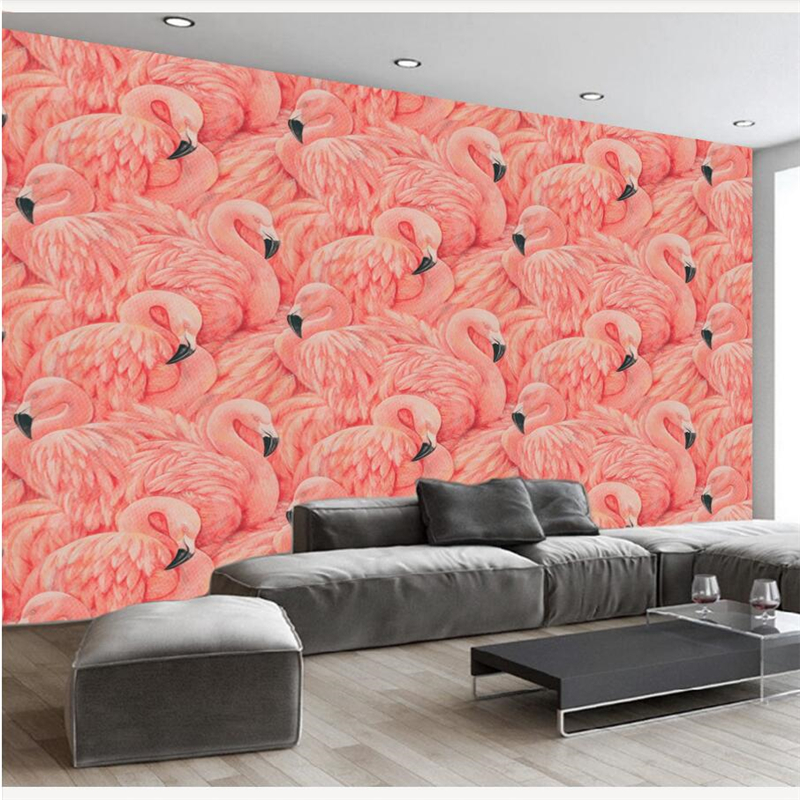 bed room wallpaper warm grey and elegant flamingo mural wallpaper ...