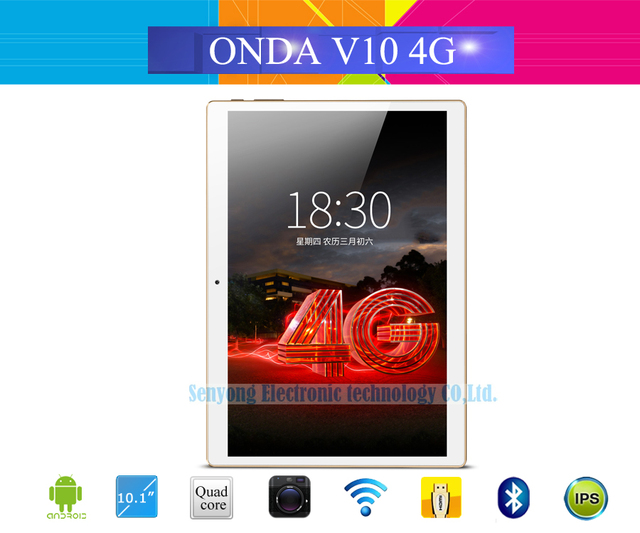 Onda V10 4G Phone Call Tablet PC 10.1'' IPS 1280*800 MTK6735 Quad Core Android 5.1 Dual SIM Card GPS 1GB Ram 16GB Rom