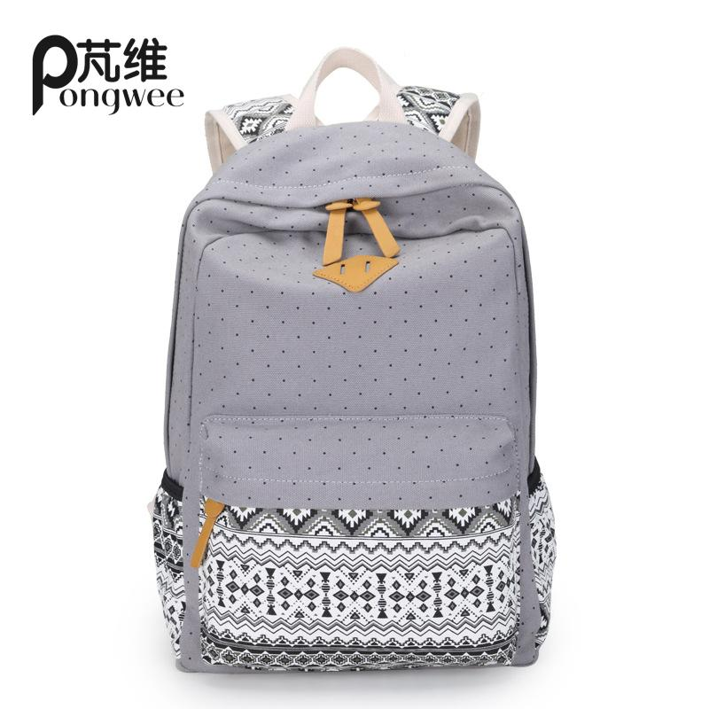 PONGWEE BOHO School Bags Teenagers Girls Large Capacity Canvas Printing School Backpack Rucksack Cute Book Bags Backpack Hmong silver aluminum car hawse fairlead for jeep wrangler 2007 2016