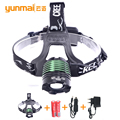 Cabeça lanterna t6 xml LED farol 2000 lumens head lamp zoomable led pesca camping caça farol 3 modos
