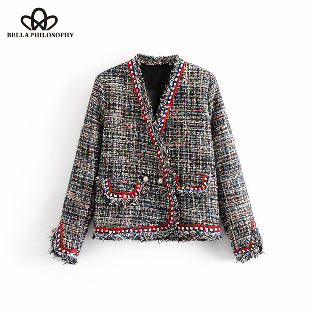 Wonder 2018 autumn Vintage Double Breasted Pearls Frayed Tweed Jacket Coat V Neck Pockets Ladies Outerwear Casual Casaco Femme