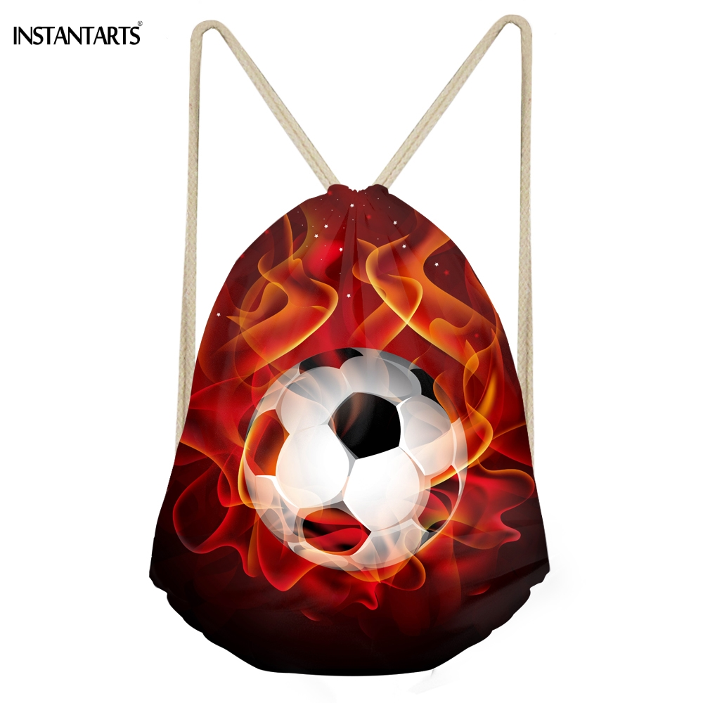 INSTANTARTS Multifunction Boys Drawstring Bags 3D Fire Soccerly Ball Print Teen Boys Storage Backpacks School Students Beach Bag