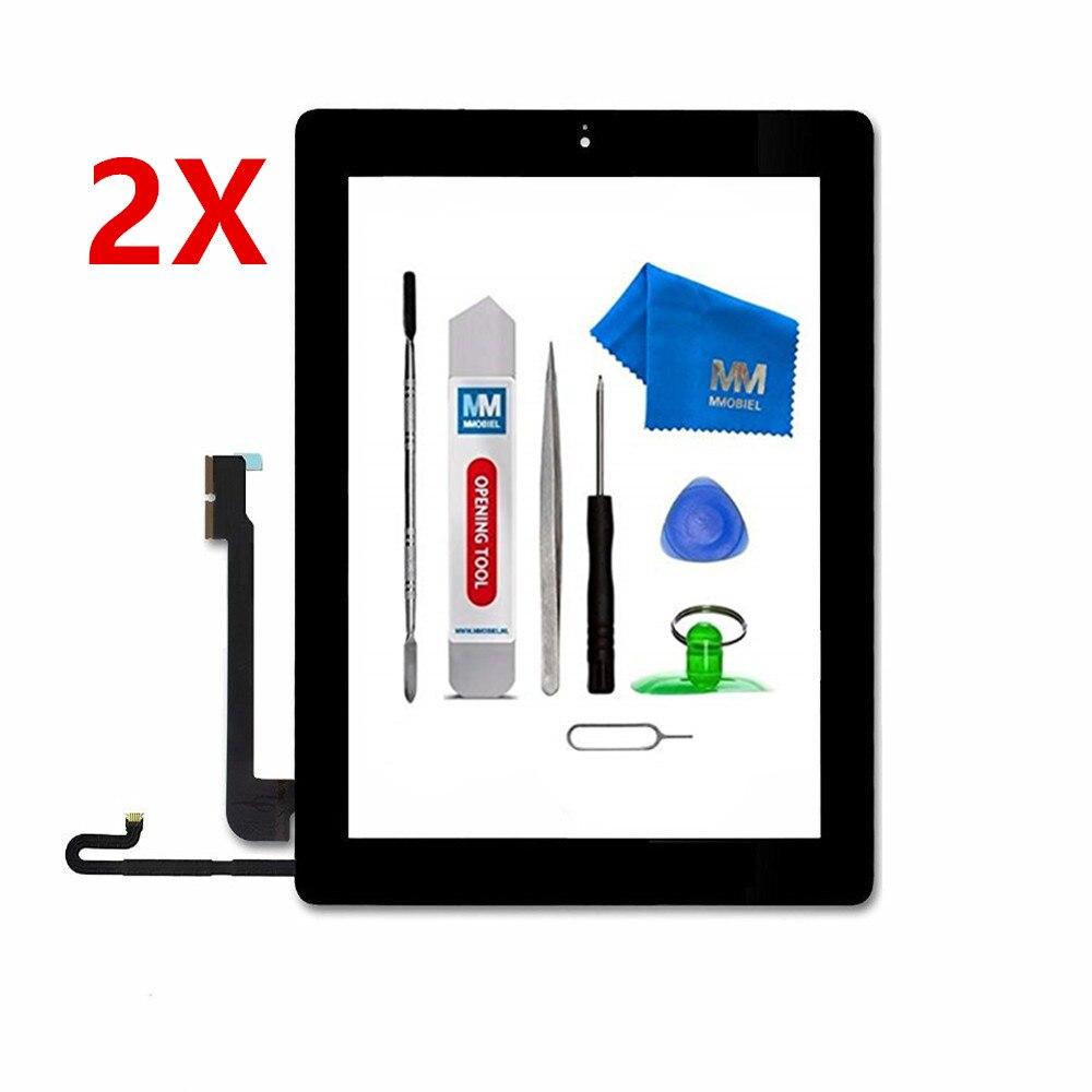 #2 Paket #: Für Ipad 4 Weiß/schwarz Digitizer Touchscreen Front-display Glas Montage Inkl Home Button Und Flex + Kamera Halter Direktverkaufspreis