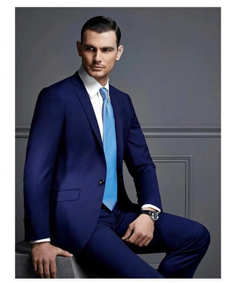 (Jacket+Pants+Tie) 2017 Custom Made Dark Blue Mens Wedding Suit Groomsmen Party Tuxedos Mens Normal Day Wear Work Suits