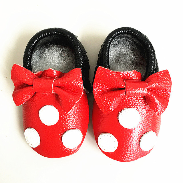 Vente de liquidation 2019 vente de sortie prix abordable Genuine Leather Baby Moccasins cartoon Mickey and Minnie Baby Shoes First  Walkers indoor Chaussure Bebe shoes Free shipping-in First Walkers from ...