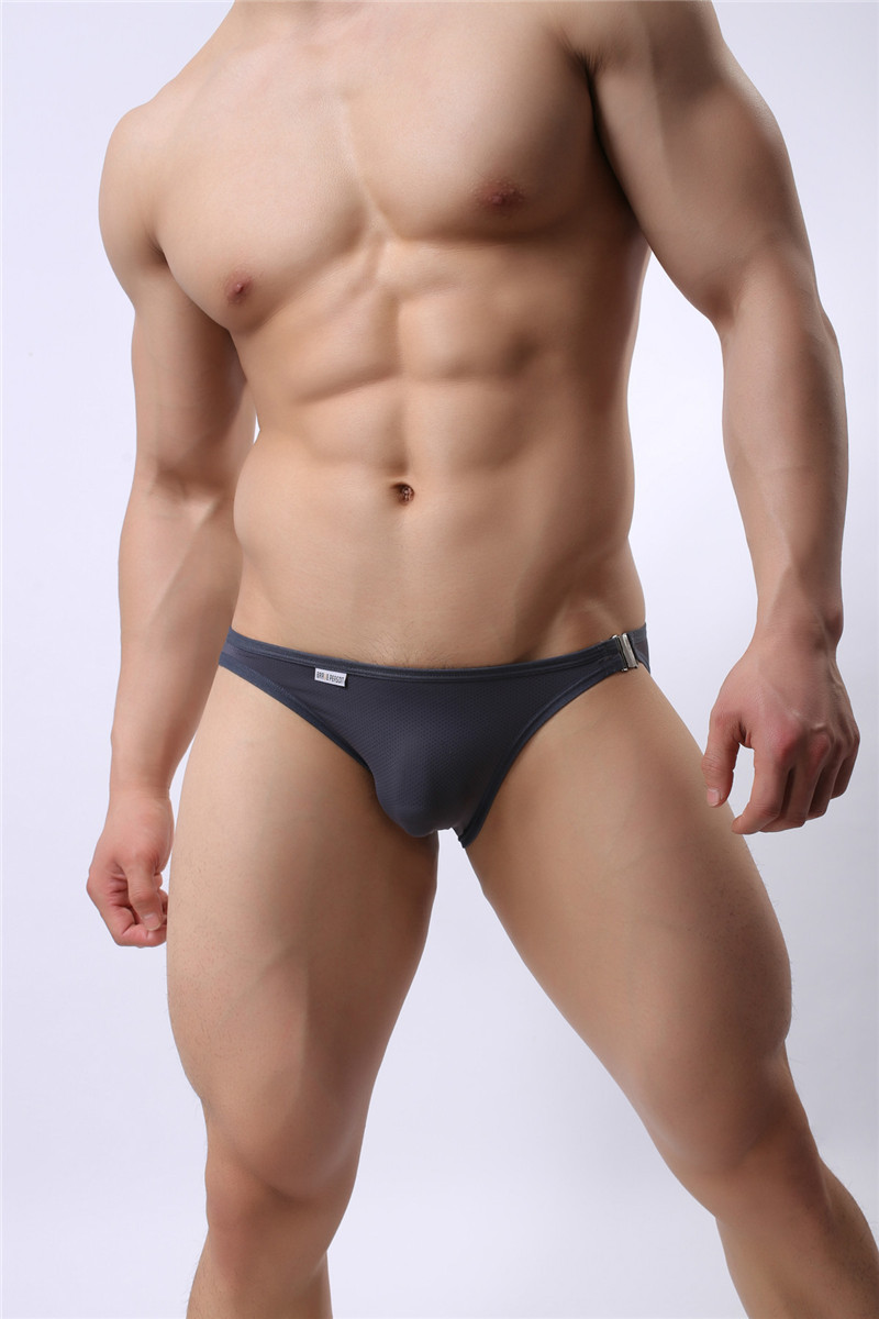 Mens Nylon Slip Small Mesh Breathable Briefs Low Rise Sexy Fashion Lock Buckle Men Bikini Underwear Briefs Brave Person 21