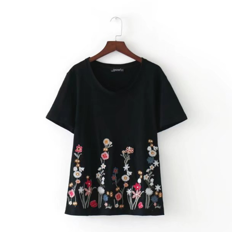 2017 Fashion Women Flower embroidery Short sleeve knitting T-shirt Casual Loose O-Neck Tops Summer style Femme Tee Shirt T690