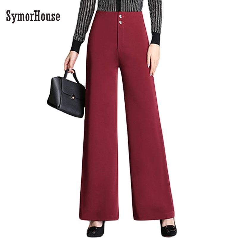 2019 High Waist Flare   Pants   Plus Size 4XL Women Trousers Female Office Lady Casual   Wide     Leg     Pants   Stretch Long   Pants   Female