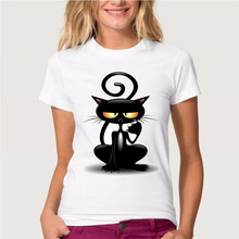 Black 3D Naughty Cat T-shirt