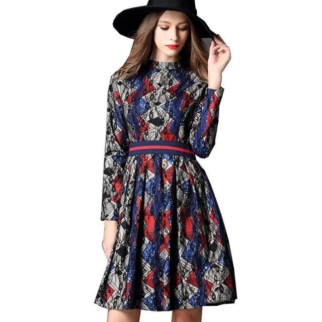 f463ea1745662 Mujeres Vestido de Encaje 2016 Nueva Llegada de La Manera Vestido Estampado  Geométrico Soporte Callor Manga