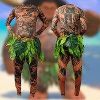 Kid Adult Maui Cosplay Set Maui Tattoo Printed Long Sleeves Top Pants Leaves Belt 3PCS Set Carnival Disguisement Halloween Cos