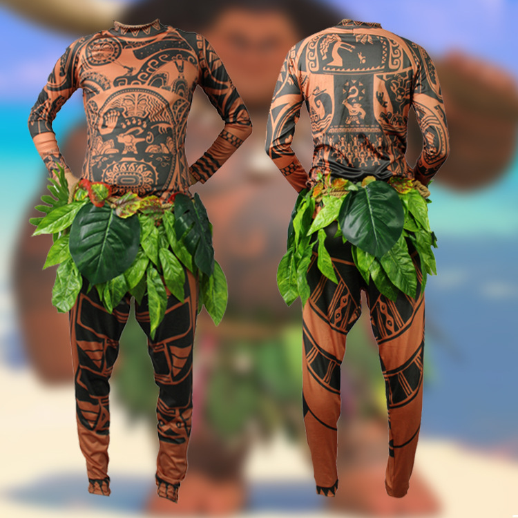 Kid Adult Maui Cosplay Set Maui Tattoo Printed Long Sleeves Top Pants Leaves Belt 3PCS Set Carnival Disguisement Halloween Cos
