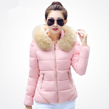 Autumn and Winter Jacket Women Coat Parka Fur Collar Large Size 2016 Women Down Cotton-padded Jacket Coat Candy Colors Outwear