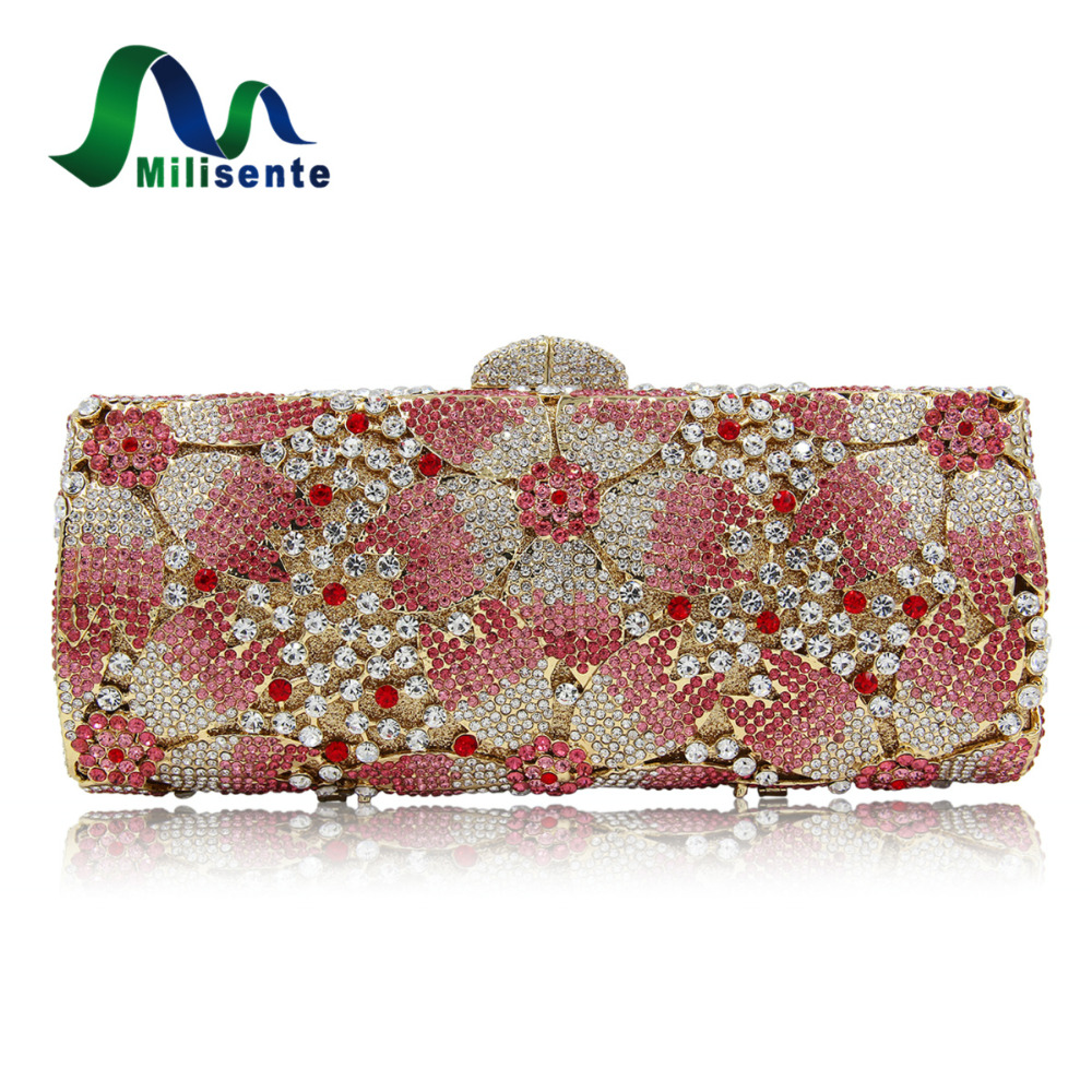 Top Quality Luxury Crystal Evening Clutch Women Wedding Purses Lady Dinner Party Shoulder Bags Pink milisente high quality luxury crystal evening bag women wedding purses lady party clutch handbag green blue gold white