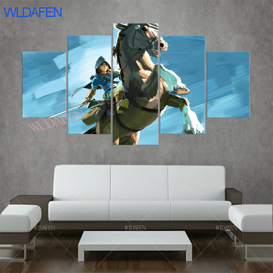 Living Room HD Home Decor 5 Panel Riding a white horse The Legend Of Zelda Printed Pictures Wall Painting Art Poster Modular