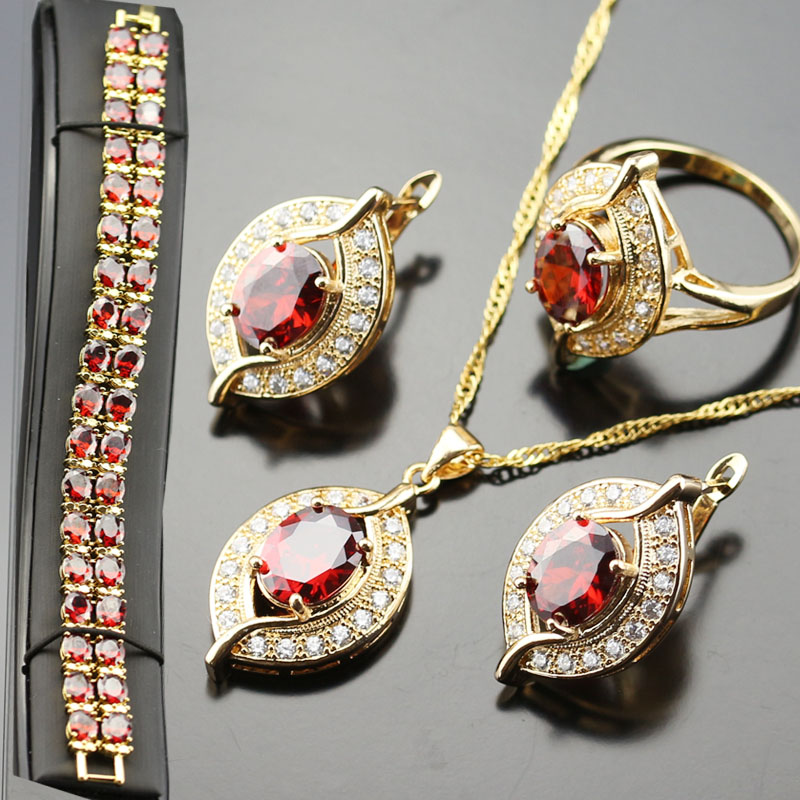 Stylish Jewelry Set For Women Red Created Garnet White Zircon Silver Color Rings/Earrings/Necklace/Pendant/Bracelets
