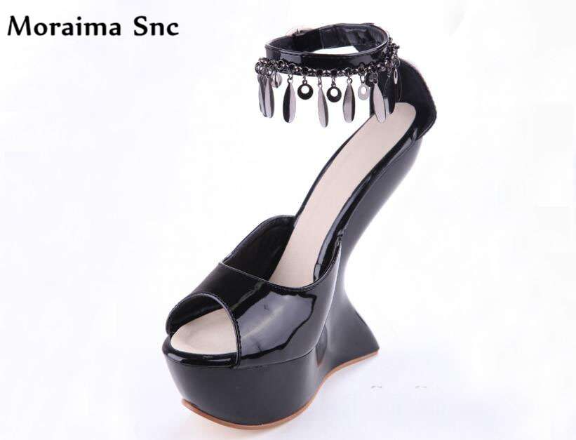 Moraima Snc 2018 summer sexy women sandals peep toe high heels metal chain women shoes strange style PU leather party shoes