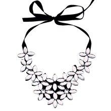 Las mujeres de La Vendimia Del Babero Cinta de Acrílico Flor Colgante, Collar Collar de la Declaración Joyería boho gargantilha