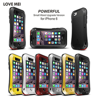Original LOVE MEI Life Waterproof Metal Case For iPhone 5 5S SE 6 6S Plus 6P 6Plus Cover Aluminum Cases With Tempered Glass