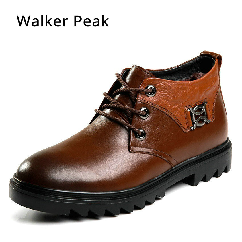 Winter Warm Shoes Snow Boot With Fur Fashion British style 100% Genuine Leather Ankle Boot Men Waterproof Casual Shoes Walkerpea fashion british style men s genuine matte leather boot shoes casual lace up male martin ankle chunky booties homme s4472