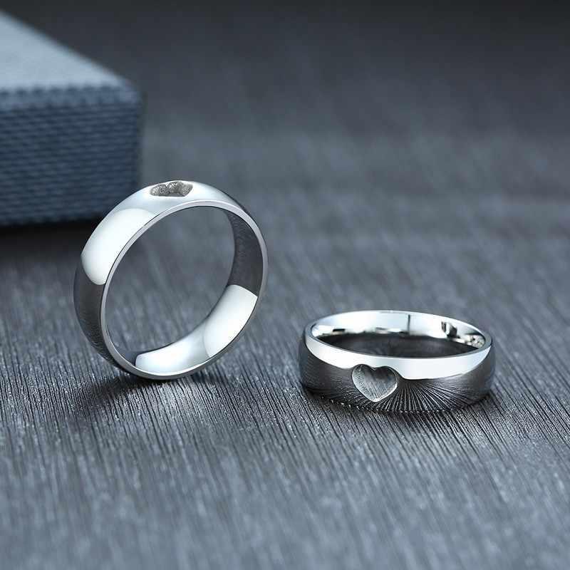 คู่สัญญา 6mm ความรักแหวนหัวใจผู้หญิงผู้ชายสแตนเลสสตีลเงินโทนสีงานแต่งงานแบรนด์ขนาด 6 12