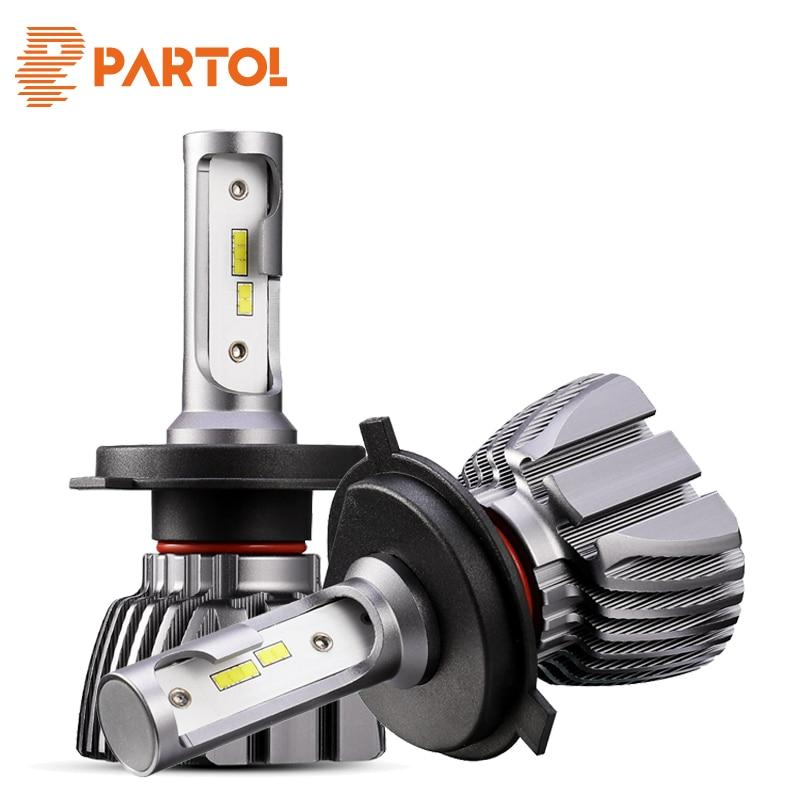 Partol H4 H7 H11 9005 9006 H1 H3 автомобиля светодиодный лампы накаливания 50 Вт 8000LM CSP чипы светодиодный автомобильных фар спереди Light 6500 К 12 В 24 В