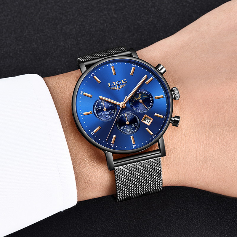 Relogios Masculino LIGE New <font><b>Men</b></font> <font><b>Watches</b></font> <font><b>2019</b></font> <font><b>Luxury</b></font> Brand <font><b>Ultra</b></font> <font><b>Thin</b></font> Date Clock Male Mesh Strap Casual Sports Quartz <font><b>Watches</b></font> <font><b>Men</b></font> image