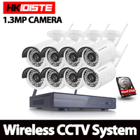 HKIXDISTE Outdoor Bullet Waterproof 8CH Wireless IP Camera CCTV System P2P All In One Standalone NVR