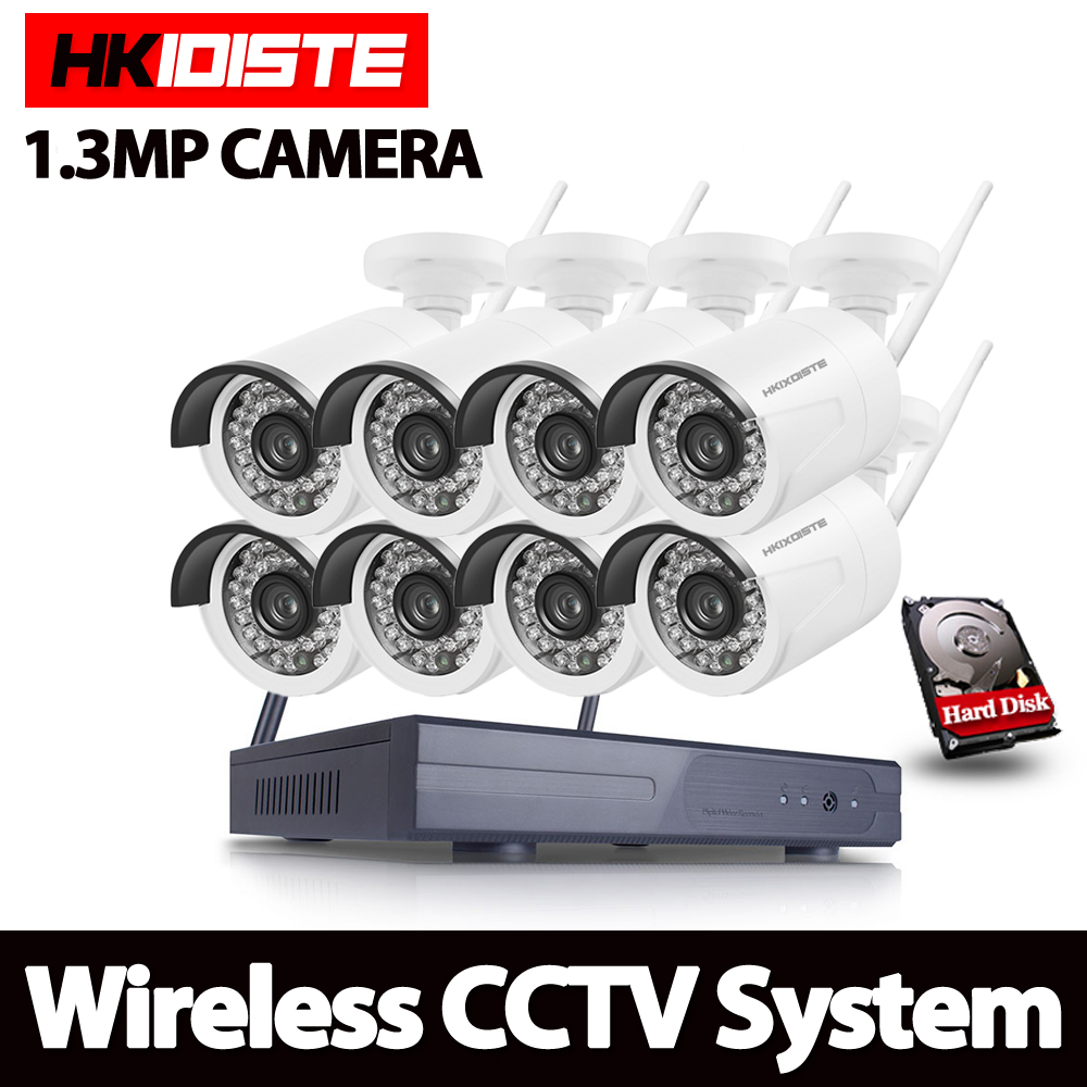 HKIXDISTE Outdoor Bullet Waterproof 8CH Wireless IP Camera CCTV System P2P All In One Standalone NVR 960P 1.3MP Wifi Kit SystemHKIXDISTE Outdoor Bullet Waterproof 8CH Wireless IP Camera CCTV System P2P All In One Standalone NVR 960P 1.3MP Wifi Kit System