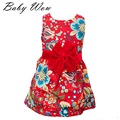 Summer Cute Baby Girl Dress Corduroy Bowknot Sleeveless Flower Princess Dresses Europen Style Kids Vest Clothing 1-5Y tyh-50559
