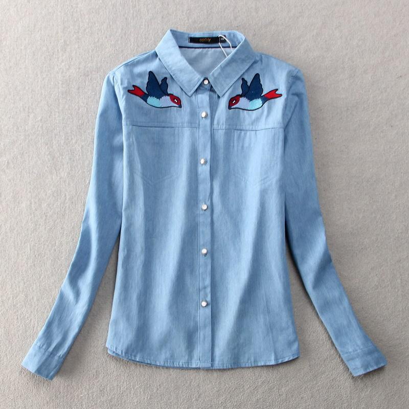 Marca camisa de mezclilla bordada Vintage 2015 nueva otoño
