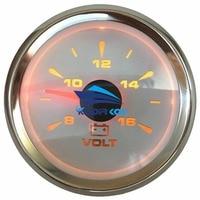 Pack of 1 SUS316L Bezel Voltage Meters 52mm 8 16V Volt Meters Pointer Lcd Display Voltmeters Gauges for Auto Truck Boat White